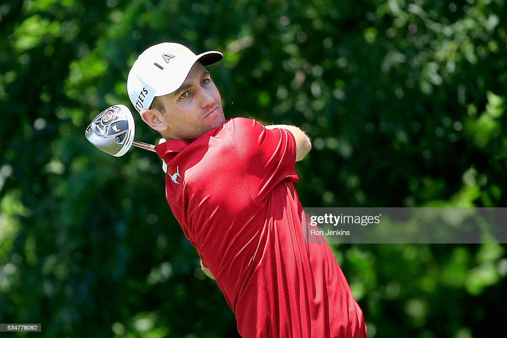 Brendon Todd plays his shot from the sixth tee during the Second Round of the DEAN & DELUCA Invitational at Colonial Country Club on May 27, 2016 in Fort Worth, Texas.
