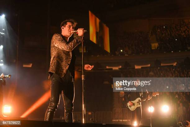Brendon Urie and Dallon Weekes of the band Panic At The Disco perform at Madison Square Garden on March 2 2017 in New York City