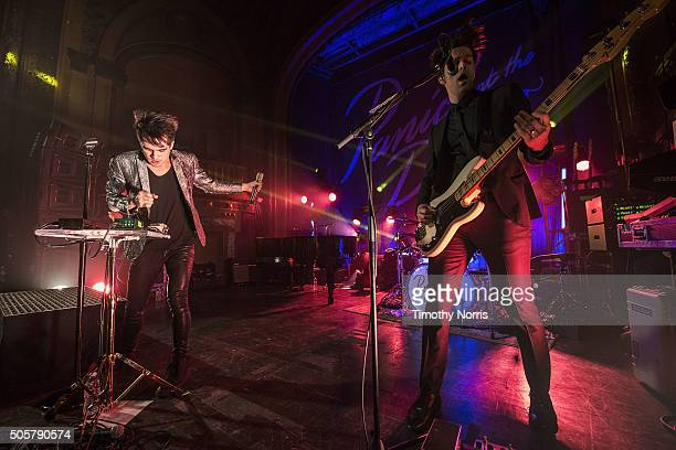 Brendon Urie and Dallon Weekes perform at Tower Theatre on January 19 2016 in Los Angeles California