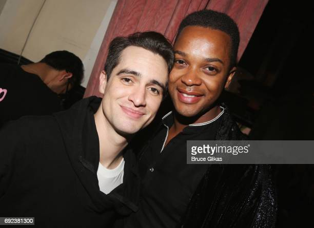 Brendon Urie and J Harrison Ghee pose at a celebration for 'Panic at The Disco' frontman Brendon Urie's Opening Night in 'Kinky Boots' at 44 1/2...