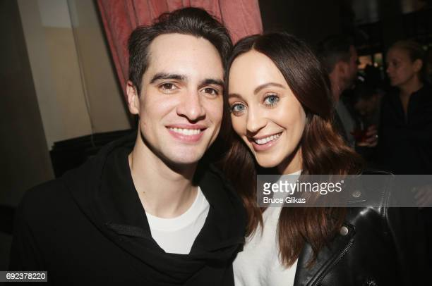 Brendon Urie and wife Sarah Orzechowski pose at a celebration for 'Panic at The Disco' frontman Brendon Urie's Opening Night in 'Kinky Boots' at 44...