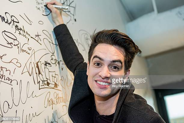 Brendon Urie discusses Death Of A Bachelor at AOL Studios on January 15 2016 in New York CityÊ at AOL Studios In New York on January 15 2016 in New...