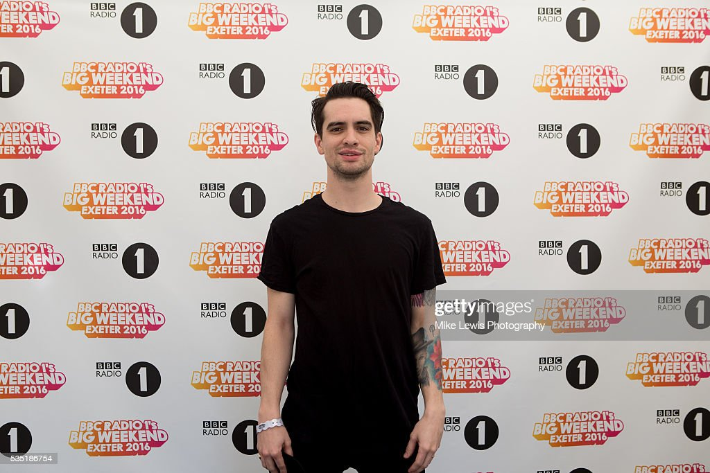 <a gi-track='captionPersonalityLinkClicked' href=/galleries/search?phrase=Brendon+Urie&family=editorial&specificpeople=542276 ng-click='$event.stopPropagation()'>Brendon Urie</a> from Panic at the Disco backstage at Powderham Castle on May 29, 2016 in Exeter, England.