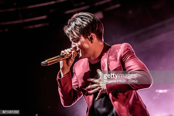 Brendon Urie of American rock band Panic at the Disco performs on stage on November 4 2016 in Milan Italy