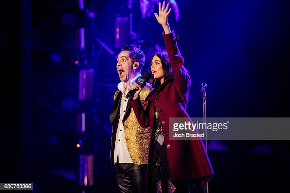 Brendon Urie of Panic At The Disco and actress Lucy Hale attend the 2016 Allstate Sugar Bowl Fan Fest in the Jax Brewery Parking Lot on December 31...