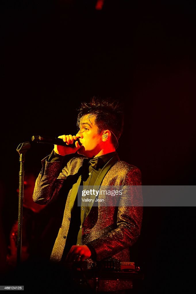 <a gi-track='captionPersonalityLinkClicked' href=/galleries/search?phrase=Brendon+Urie&family=editorial&specificpeople=542276 ng-click='$event.stopPropagation()'>Brendon Urie</a> of Panic! at the Disco performs at Fillmore Miami Beach on February 8, 2014 in Miami Beach, Florida.