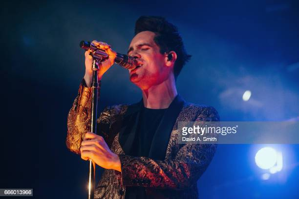 Brendon Urie of Panic At The Disco performs at Legacy Arena at the BJCC on April 7 2017 in Birmingham Alabama
