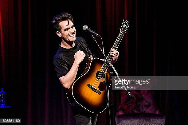 Brendon Urie of Panic at the Disco performs during An Evening with Panic at the Disco at The GRAMMY Museum on September 12 2016 in Los Angeles...