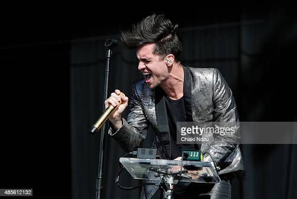 Brendon Urie of Panic At The Disco performs on Day 1 of The Reading Festival at Richfield Avenue on August 28 2015 in Reading England