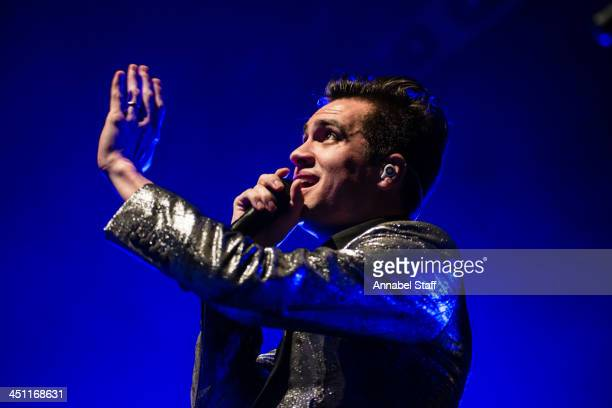 Brendon Urie of Panic At The Disco performs on stage at The Forum on November 21 2013 in London United Kingdom