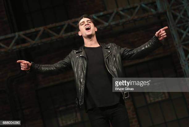 Brendon Urie of the band 'Panic At The Disco' performs 'Soul of a Man' at a rehearsal for his broadway debut in the hit musical 'Kinky Boots' on...
