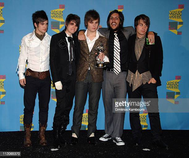 Brendon Urie Ryan Ross Spencer Smith director Shane C Drake and Jon Walker of Panic At the Disco winner Video of the Year for 'I Write Sins Not...