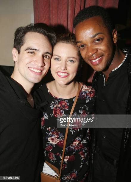 Brendon Urie Taylor Louderman and J Harrison Ghee pose at a celebration for 'Panic at The Disco' frontman Brendon Urie's Opening Night in 'Kinky...