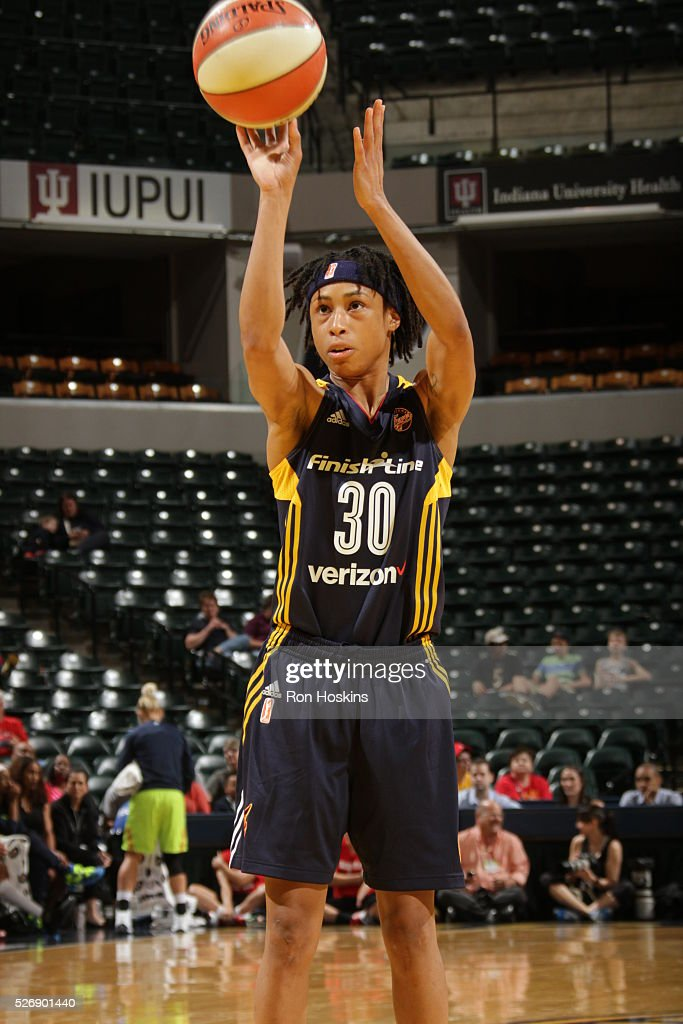 Brene Moseley #30 of Indiana Fever shoots a free throw against the Dallas Wings during a preseason game on May 1, 2016 at Bankers Life Fieldhouse in Indianapolis, Indiana.