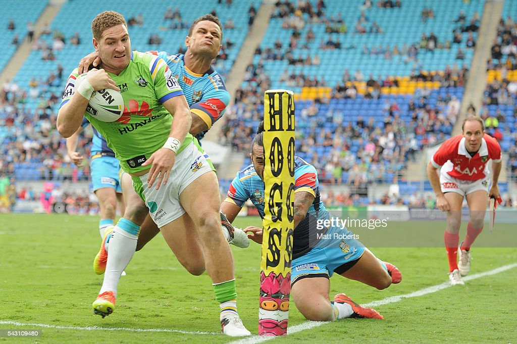 Brenko Lee of the Raiders scores a try during the round 16 NRL match between the Gold Coast Titans and the Canberra Raiders at Cbus Super Stadium on June 26, 2016 in Gold Coast, Australia.