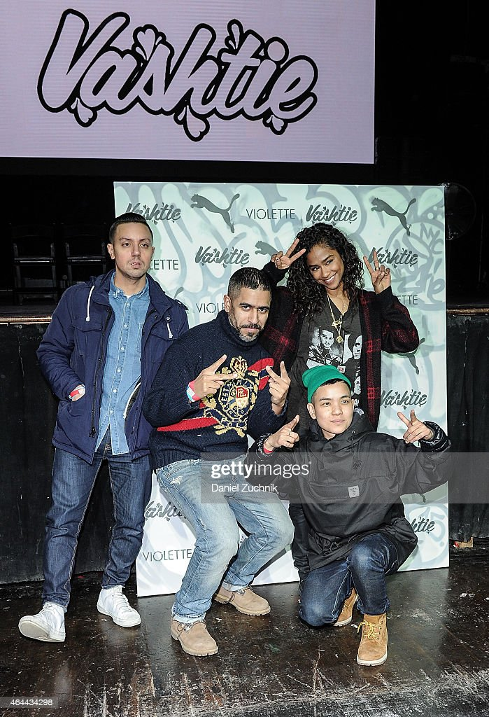 DJ Brenmar, Christelle de Castro, Oscar Sanchez and <a gi-track='captionPersonalityLinkClicked' href=/galleries/search?phrase=Vashtie+Kola&family=editorial&specificpeople=5834592 ng-click='$event.stopPropagation()'>Vashtie Kola</a> attend the Vashtie x Puma Fashion Show and Launch Party at Webster Hall on February 25, 2015 in New York City.
