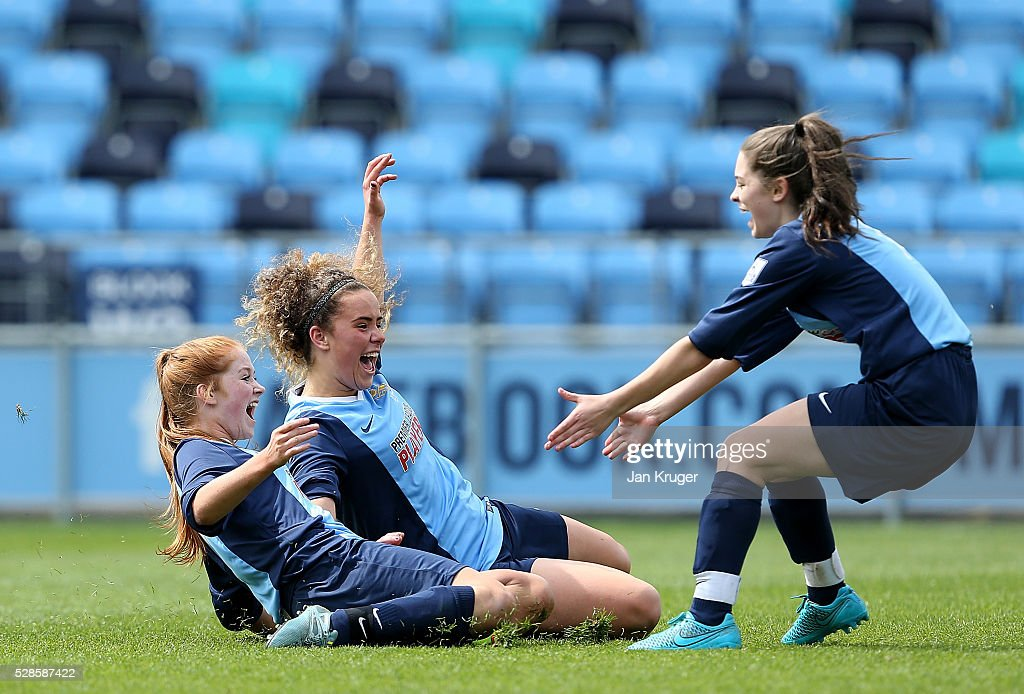 Brenna McPartlan(C), Ebony Stinson and Devon Hesketh of St Bede's School celebrates the win after a penalty shoot out during the Premier League U16 Schools Cup For Girls final between St Bede's School and Kings' School at the Etihad Campus on May 06, 2016 in Manchester, England.