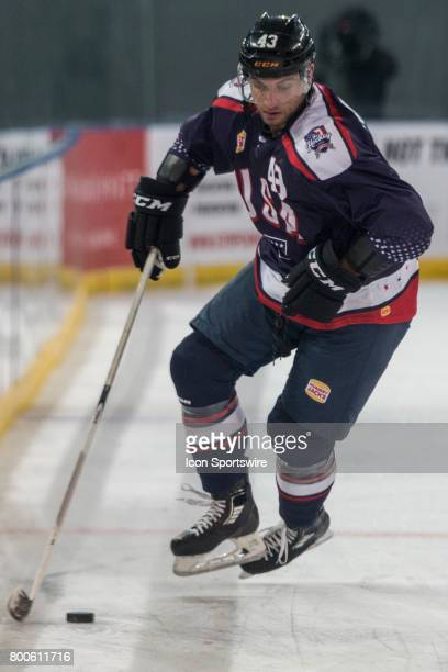 Brennan of Team USA controls the puck during the Melbourne Game of the Ice Hockey Classic on June 24 2017 held at Hisence Arena Melbourne Australia