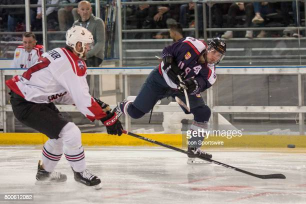 Brennan of Team USA has a shot at goal during the Melbourne Game of the Ice Hockey Classic on June 24 2017 held at Hisence Arena Melbourne Australia