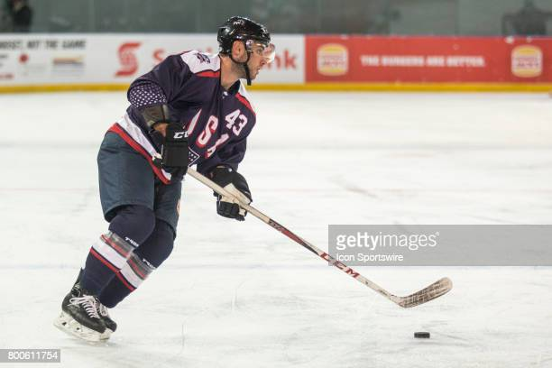 Brennan of Team USA looks for options during the Melbourne Game of the Ice Hockey Classic on June 24 2017 held at Hisence Arena Melbourne Australia