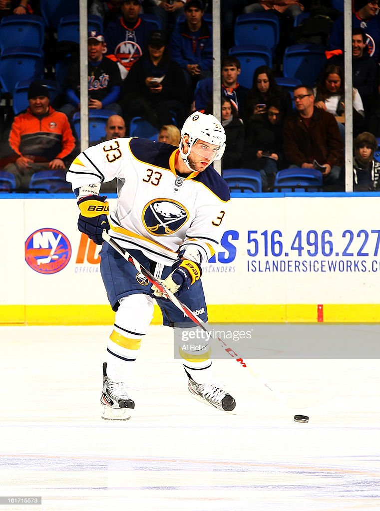 T.J. Brennan #33 of the Buffalo Sabres in action against the New York Islanders during their game at Nassau Veterans Memorial Coliseum on February 9, 2013 in Uniondale, New York.