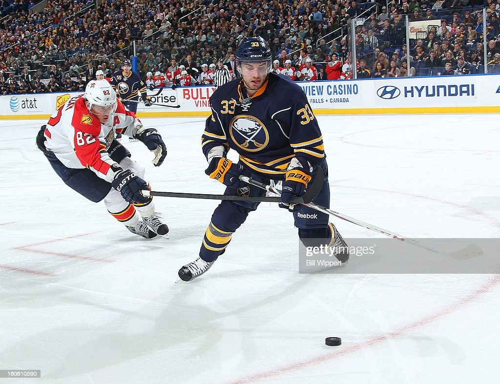 TJ Brennan #33 of the Buffalo Sabres reaches for the puck next to <a gi-track='captionPersonalityLinkClicked' href=/galleries/search?phrase=Tomas+Kopecky&family=editorial&specificpeople=2234349 ng-click='$event.stopPropagation()'>Tomas Kopecky</a> #82 the Florida Panthers on February 3, 2013 at the First Niagara Center in Buffalo, New York.