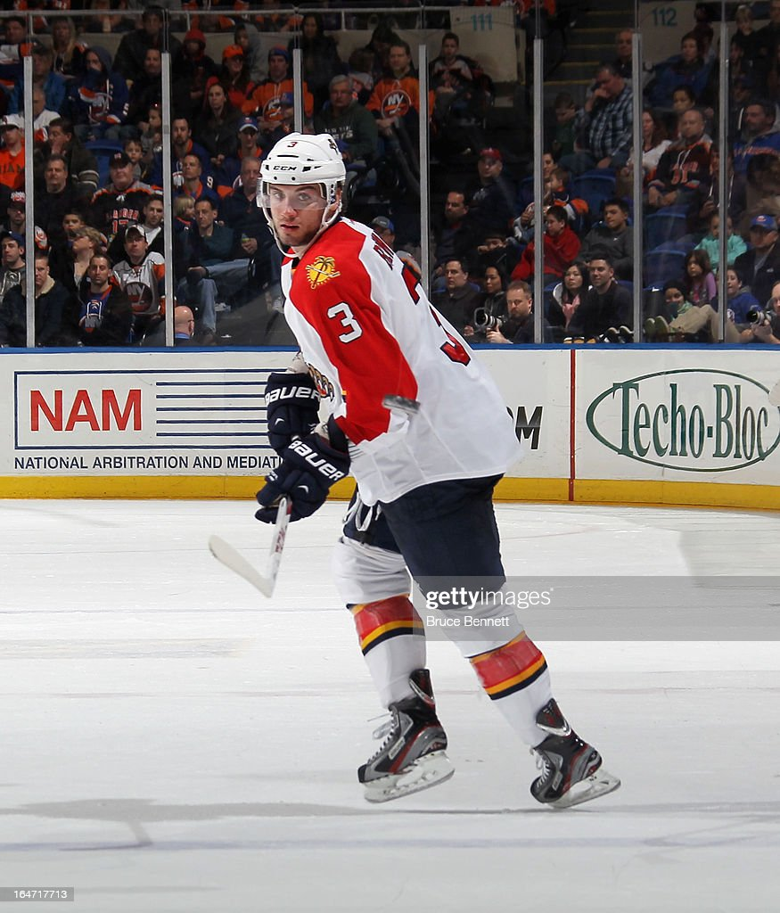 T.J. Brennan #3 of the Florida Panthers skates against the New York Islanders at the Nassau Veterans Memorial Coliseum on March 24, 2013 in Uniondale, New York.
