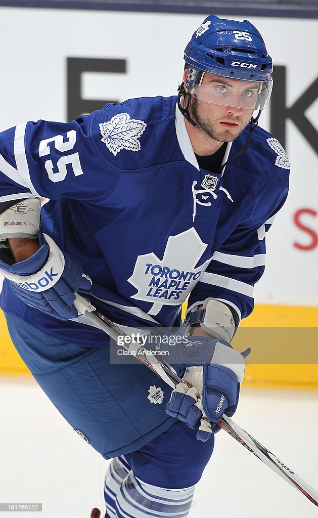 <a gi-track='captionPersonalityLinkClicked' href=/galleries/search?phrase=TJ+Brennan&family=editorial&specificpeople=7218748 ng-click='$event.stopPropagation()'>TJ Brennan</a> #25 of the Toronto Maple Leafs skates in a pre-season game against the Buffalo Sabres on Sept 22, 2013 at the Air Canada Centre in Toronto, Ontario, Canada. The Leafs defeated the Sabres 5-3.