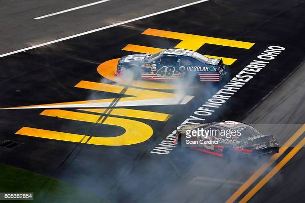 Brennan Poole driver of the DC Solar Chevrolet and Ty Dillon driver of the Bass Pro Shops/TRCKR BTS Chevrolet are involved in an ontrack incident...