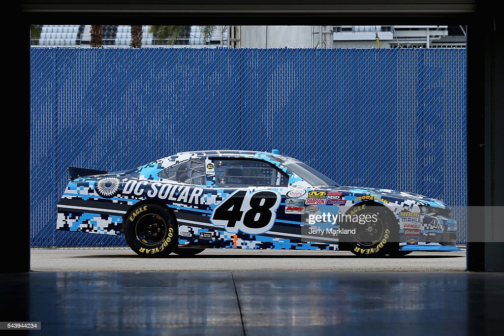 Brennan Poole, driver of the #48 DC Solar Chevrolet, drives through the garage area during practice for the NASCAR XFINITY Series Subway Firecracker 250 at Daytona International Speedway on June 30, 2016 in Daytona Beach, Florida.