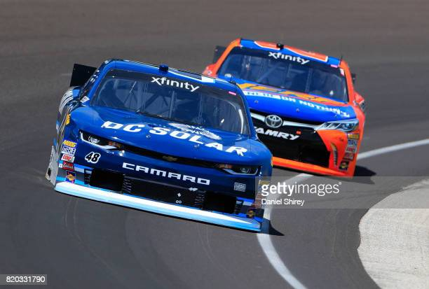 Brennan Poole driver of the DC Solar Chevrolet practices for the NASCAR XFINITY Series Lilly Diabetes 250 at Indianapolis Motorspeedway on July 21...