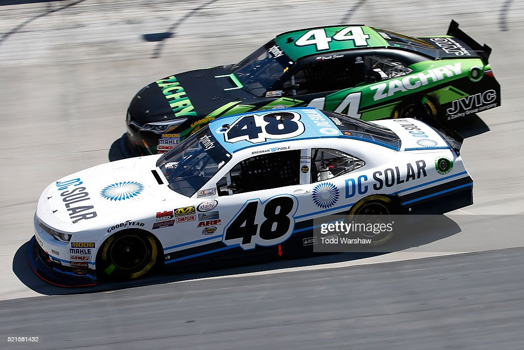 Brennan Poole, driver of the #48 DC Solar Chevrolet, races <a gi-track='captionPersonalityLinkClicked' href=/galleries/search?phrase=David+Starr&family=editorial&specificpeople=700309 ng-click='$event.stopPropagation()'>David Starr</a>, driver of the #44 Zachry Toyota, during the NASCAR XFINITY Series Fitzgerald Glider Kits 300 at Bristol Motor Speedway on April 16, 2016 in Bristol, Tennessee.