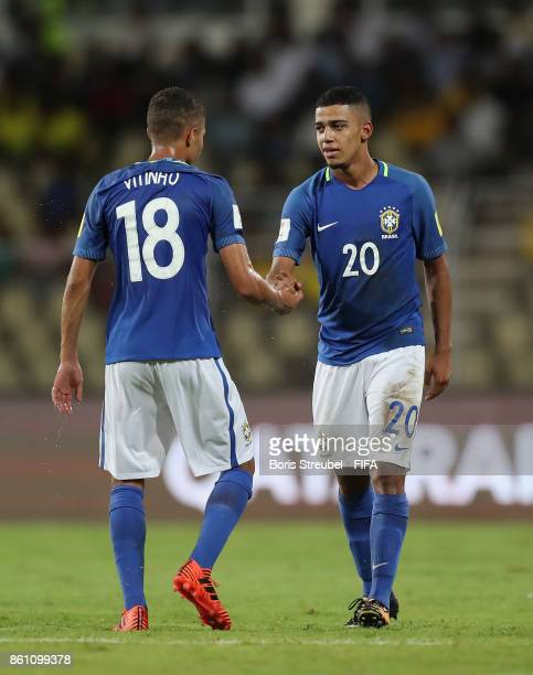 Brenner of Brazil celebrates after scoring his team's first goal during the FIFA U17 World Cup India 2017 group C match between Niger and Brazil at...