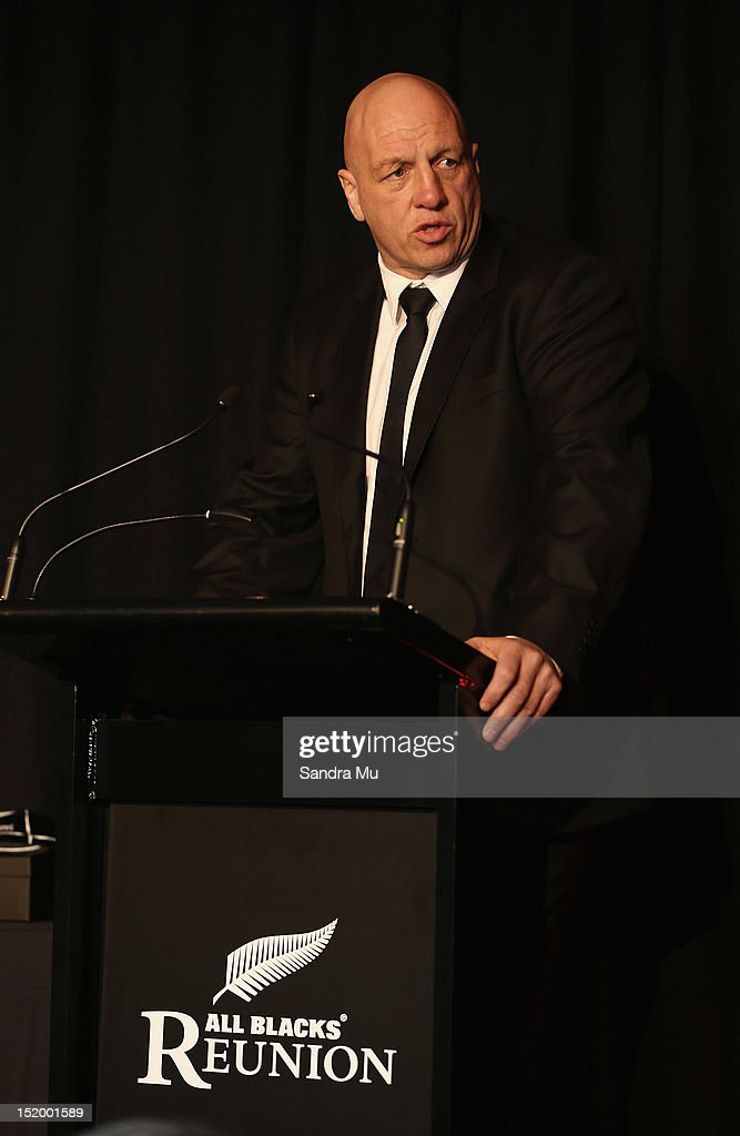 Brent Anderson of the New Zealand Rugby Union speaks during the New Zealand All Blacks reunion dinner on September 14, 2012 in Dunedin, New Zealand.