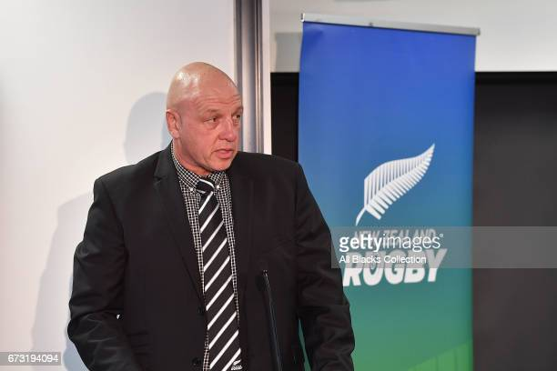 Brent Anderson speaks during the New Zealand Maori Rugby Board AGM at New Zealand Rugby House on April 26 2017 in Wellington New Zealand