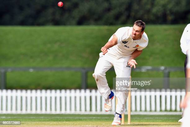 Brent Arnel of Wellington bowling during the Plunket Shield match between Canterbury and Wellington on March 30 2017 in Christchurch New Zealand