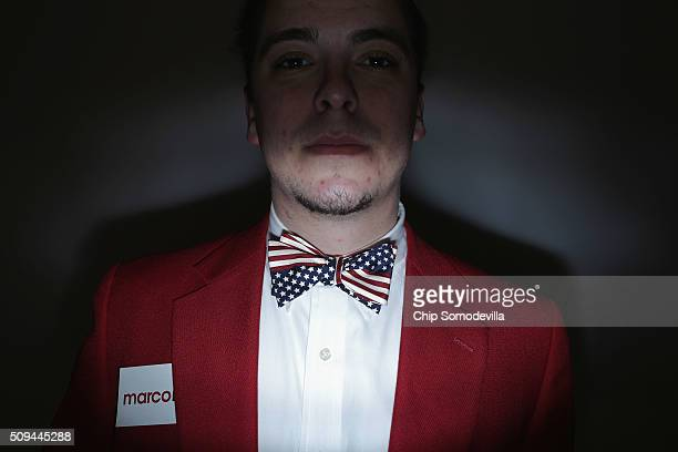Brent Barfield of Charleston sports an American flag bow tie at a campaign rally for Republican presidential candidate Sen Marco Rubio at the North...