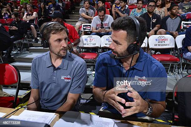 Brent Barry and Spero Dedes of NBATV discuss a game between the Milwaukee Bucks and San Antonio Spurs on July 12 2015 at the Thomas Mack Center in...