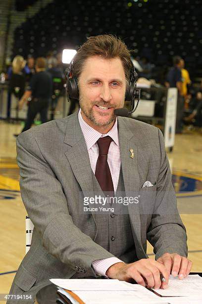 Brent Barry appears on NBA TV after Game Five of the 2015 NBA Finals between the Golden State Warriors and the Cleveland Cavaliers on June 14 2015 at...