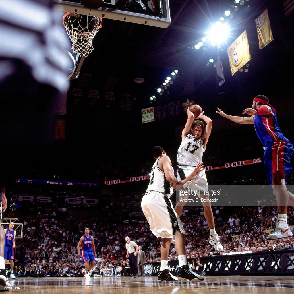 Brent Barry #17 of the San Antonio Spurs grabs a rebound against Rasheed Wallace #36 of the Detroit Pistons in Game Seven of the 2005 NBA Finals on June 23, 2005 at the SBC Center in San Antonio, Texas. The Spurs defeated the Pistons 81-74.