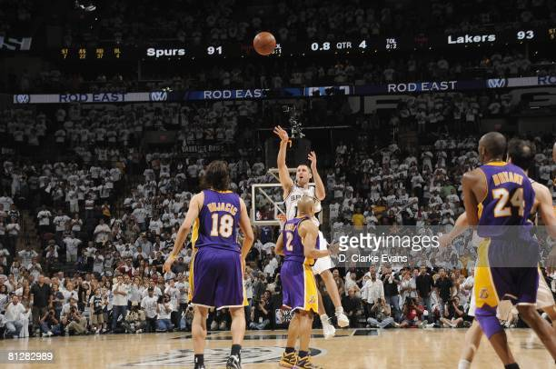 Brent Barry of the San Antonio Spurs shoots over Derek Fisher of the Los Angeles Lakers in the final seconds of Game Four of the Western Conference...