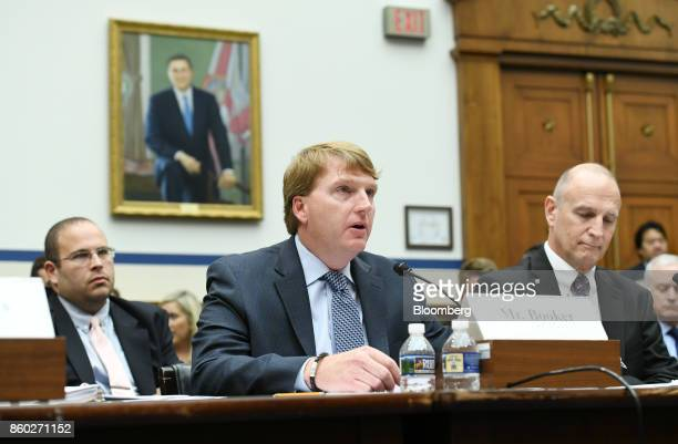 Brent Booker secretarytreasurer of North America's Building Trades Unions speaks during a House Transportation Committee hearing in Washington DC US...