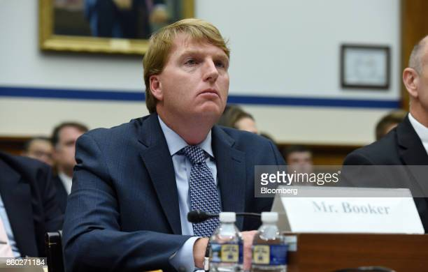 Brent Booker secretarytreasurer of North America's Building Trades Unions listens during a House Transportation Committee hearing in Washington DC US...