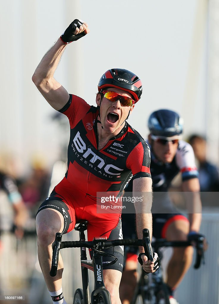 Brent Bookwalter of the USA and the BMC Racing Team celebrates winning stage one of the 2013 Tour of Qatar from Katara Cultural Village to Dukhan Beach on February 3, 2013 in Doha, Qatar.