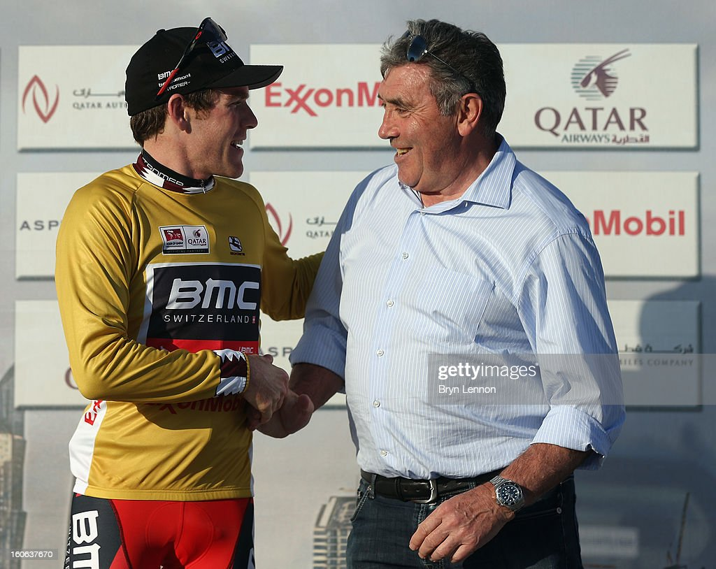 Brent Bookwalter of the USA and the BMC Racing Team shakes hands with Eddy Merckx after retaining his race lead after stage two of the 2013 Tour of Qatar, a 14km Team Time Trial along Al Rufaa Street on February 4, 2013 in Doha, Qatar.
