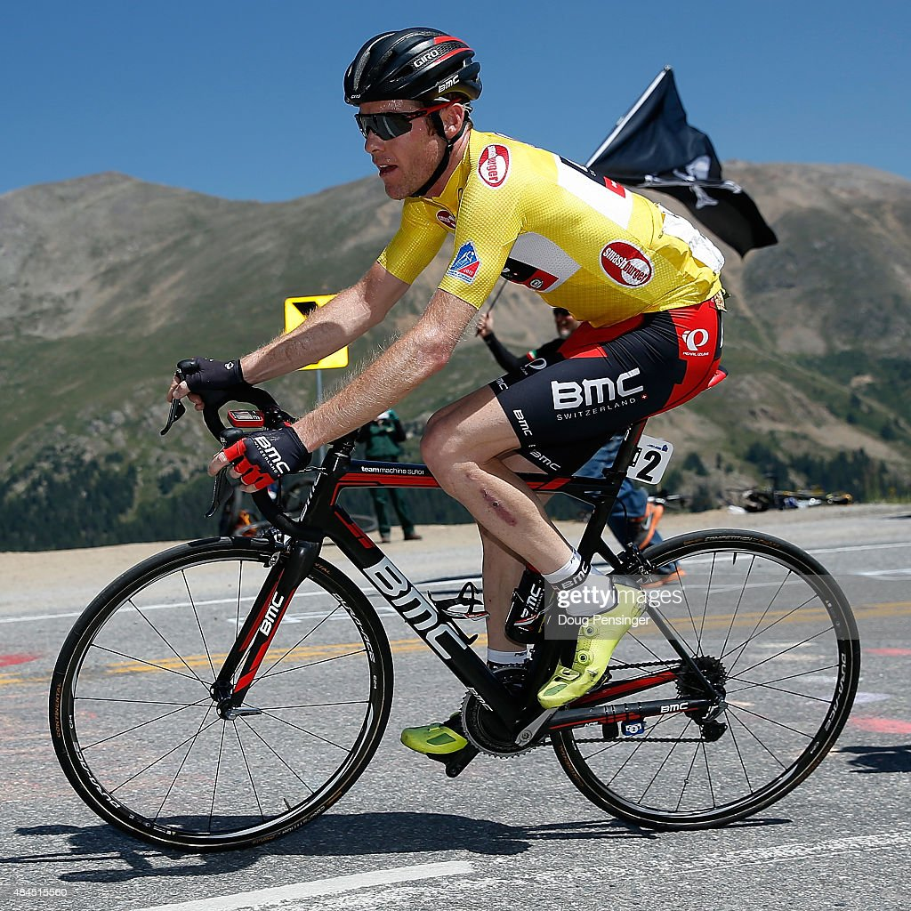 Brent Bookwalter of United States riding for BMC Racing makes the climb of Independence Pass as he defends the overall race leader yellow jersey in stage three of the 2015 USA Pro Challenge from Copper Mountain to Aspen on August 19, 2015 in Aspen, Colorado.