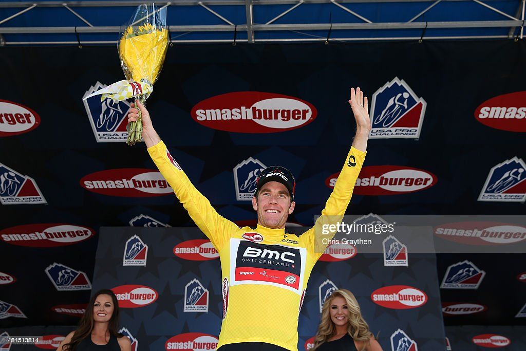 <a gi-track='captionPersonalityLinkClicked' href=/galleries/search?phrase=Brent+Bookwalter&family=editorial&specificpeople=6931494 ng-click='$event.stopPropagation()'>Brent Bookwalter</a> of United States riding for BMC Racing poses for a photo in the leader's jersey after stage three from Copper Mountain to Aspen of the 2015 USA Pro Challene on August 19, 2015 in Aspen, Colorado.