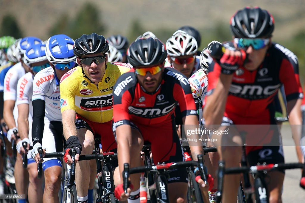 Brent Bookwalter of United States riding for BMC Racing rides under the protection of his team as he defends the overall race leader yellow jersey during stage three of the 2015 USA Pro Challenge from Copper Mountain to Aspen on August 19, 2015 in Aspen, Colorado.