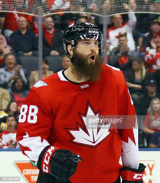 Brent Burns of Team Canada celebrates his goal at 1752 of the first period against Team Czech Republic during the World Cup of Hockey tournament at...