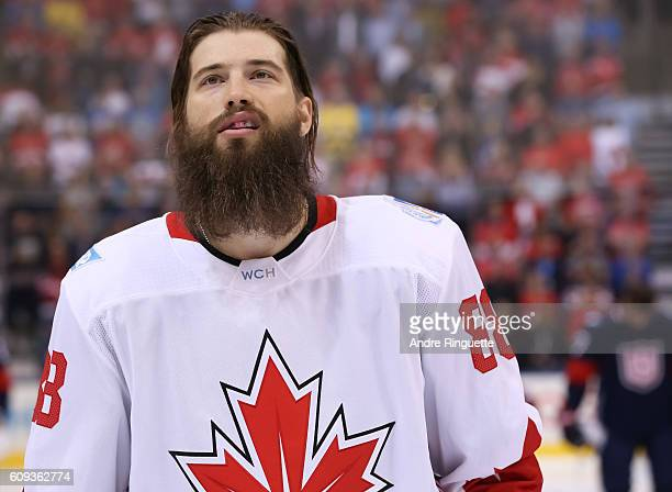 Brent Burns of Team Canada lines up prior to the game against Team USA during the World Cup of Hockey 2016 at Air Canada Centre on September 20 2016...